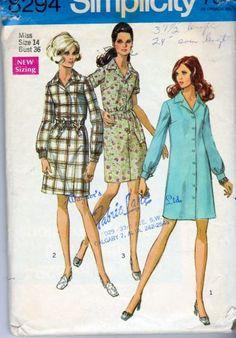 Simplicity 8294 Misses Shirtwaist Dress Vintage 1960's Pattern #1960s #dress #ladies #simplicity #vintage #patterns #sewing #retro #vintagestitching
