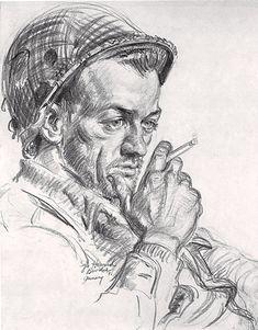Howard Brodie, 'Squadron Leader,' U.S. Army Artist-Yank Magazine