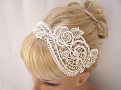 Anemone lace headband ivory. $29.00, via Etsy.