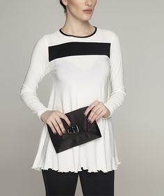 Laranor Ecru & Black Color Block Ruffle Top by Laranor #zulily #zulilyfinds