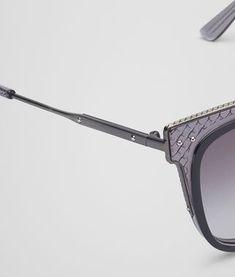 SUNGLASSES IN SHINY BLACK ACETATE AND GREY METAL, GRADIENT GREY LENS Sun  Shine, Sunglasses f6d958587f