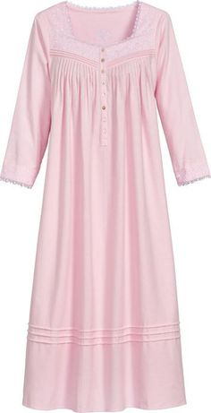 Fairy Tale flannel nightgown by Eileen West nightgown features three quarter sleeves, lace trim, embroidery, pockets and more. Sari Blouse Designs, Dress Neck Designs, Night Gown Dress, Cotton Nighties, Pijamas Women, Flannel Nightgown, Nightgown Pattern, Desi Wedding Dresses, Pajama Outfits