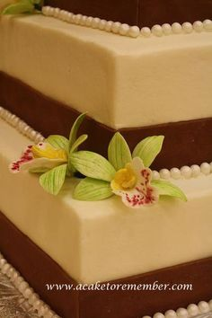 cake decorated with orchids   Gumpaste orchids sugar flowers for cake by ACakeToRemember on Etsy