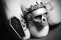 coffin and crowned skull rings