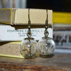 Make a Wish: Real Dandelion Seed Glass Orb / Globe Earrings - Bronze Childhood Memories