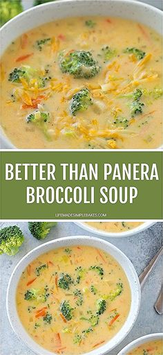 Thick, cheesy and loaded with broccoli! This Better Than Panera Broccoli soup is a delicious homemade version of a restaurant favorite. Better Than Panera Broccoli Soup - Life Made Si Cheesy Broccoli Recipe, Broccoli Soup Recipes, Broccoli Cheddar, Broccoli And Carrot Soup, Broccoli Casserole, Cheesy Recipes, Cauliflower Soup, Crock Pot Soup, Homemade Soup