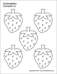 Free printable strawberries to use for various fruit-themed crafts and learning activities. The printables include a strawberry pattern, a strawberry coloring page, and a colored strawberries page. Applique Templates, Templates Printable Free, Applique Patterns, Free Printables, Owl Templates, Strawberry Crafts, Strawberry Color, Preschool Crafts, Crafts For Kids