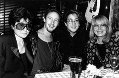 The two wives and two sons of singer John Lennon in 1989: from left, Yoko Ono, Julian Lennon, Sean Lennon and Cynthia Lennon. (AP Photo/John Bellissimmo