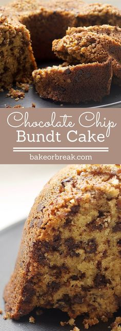 Chocolate Chip Bundt Cake is a delicious combination of brown sugar, chocolate, and nuts. This one is always a winner! - Bake or Break ~ http://www.bakeorbreak.com