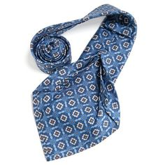 Petronius 1926 italian handmade blue with white ornament 5 fold silk tie 8,5 cm ( art. 474 ), $149
