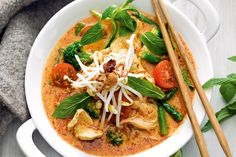 Chicken and vegetable laksa. This spicy and cream Asian soup is a great way to keep warm in winter. http://www.taste.com.au/recipes/31215/chicken+and+vegetable+laksa