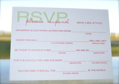mad libs rsvp I love these :)