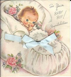 Now that I have a working scanner, I plan to share some of my greeting card collection with you. Today I have some pretty pastel cards tha. Vintage Love, Vintage Paper, Vintage Photos, Baby Illustration, Blue Bow, Vintage Greeting Cards, Pretty Pastel, Paper Clip, Baby Cards