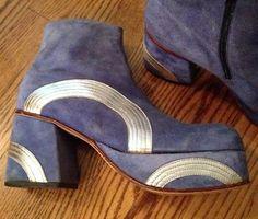 Vintage 70s Mens Suede Metallic Leather Platform Boots
