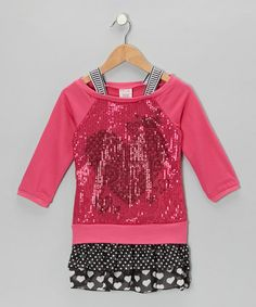 Take a look at this Pink Sequin Heart Layered Dress - Toddler & Girls by S.W.A.K. on #zulily today!