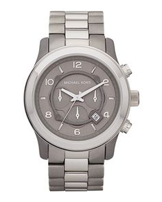 Michael Kors Men's Oversize Titanium Runway Watch, Gray... I think I like men's watches better. ;)