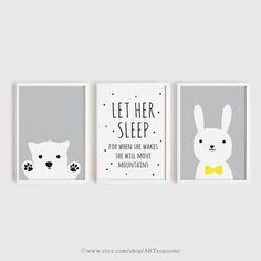 Printable Nursery Art Set of 3 Poster Baby girls room Wall art