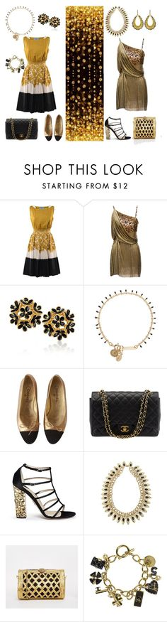 """Black & Gold"" by kaibex on Polyvore featuring Prada, Versace, Isabel Marant, Chanel, Paul Andrew, From St Xavier, dressy, blackandgold and outfits"