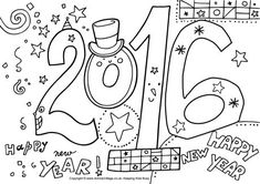 New years eve printable coloring pages In the sketch comedy troupe Royal Canadian Air Farce began airing its annual New Year's Eve special Year of the Farce on CBC Television, which f. New Year Coloring Pages, Coloring Pages To Print, Free Coloring Pages, Printable Coloring Pages, Free Adult Coloring, Coloring Pages For Kids, Coloring Books, New Years Activities, Holiday Activities