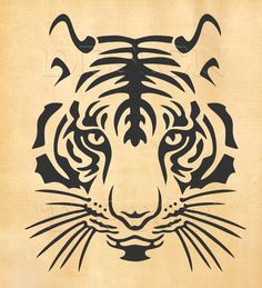 Tiger SVG head of a tiger svg dxf eps png print and cut file for Silhouette Cricut tattoo design t-shirt designs wall decor Stencil Animal, Tiger Stencil, Stencil Art, Stencils, Stencil Printing, Tiger Outline, Kopf Tattoo, Cricut Design Studio, Scroll Saw Patterns