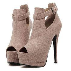 Elegant Ankle Strap Peep-toe Heel