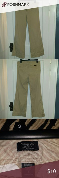 Abercrombie & Fitch Khaki Trousers Abercrombie & Fitch wide leg khakis size 4. I am 5'7 and these pants are floor length with flats. Abercrombie & Fitch Pants