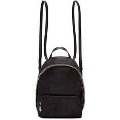 Stella McCartney Black Mini Falabella Backpack (11.494.830 IDR) ❤ liked on Polyvore featuring bags, backpacks, black, stella mccartney backpack, mini zip bags, studded bag, backpack bags and zip handle bags