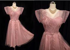 Vintage 50s Dress // 1950s Dusty Rose Pink by VintageDevotion, $295.00