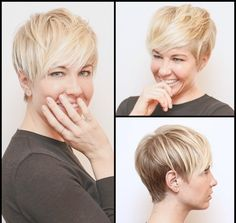 Pixie on a round face Short hair for Round Faces