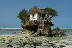 Rock Restaurant in the middle of the Indian Ocean, off the coast of Zanzibar, Tanzania,
