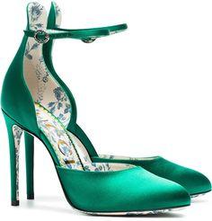 Gucci emerald Daisy 105 silk satin pumps #ad
