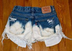 Levi's Cutoff Jean Shorts Distressed Dip Dye by weallneedvintage, $28.00
