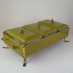 Anchor Hocking Fire King 3 Section Chafing Dish by WoolTrousers