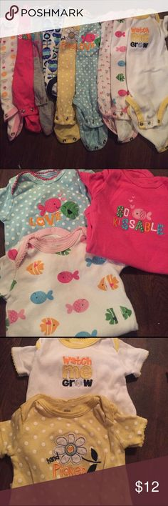 Lot of 9 Onesies for baby girl Adorable collection of Onesies for baby girl- you cannot have enough of these around the house! One Pieces Bodysuits