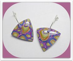 Multicolor Triangle Hoop Earrings polymer clay by BeadazzleMe available in my Etsy Shop