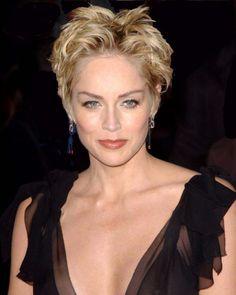 Sharon Stone short sassy hairstyle