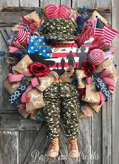 RESERVED FOR SWEETIE Military Wreath Patriotic by BaBamWreaths