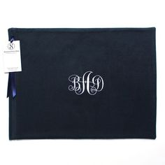 """Anti Tarnish Silver Storage Bag 12"""" x 16"""" Zippered Monogrammed Flannel Anti-Tarnish Bag for Small Platter or Serving Dish monogrammed with a beautiful Simple Elegance monogram.  Find it on Etsy or at SherwoodSilverBags.com."""