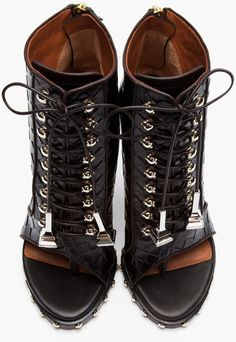 Givenchy Black Embossed Leather Open Toe Studded Ankle Boots in Black | Lyst