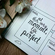 There are a bunch of bullet journal ideas at this site! At this very moment life is perfect Creating A Bullet Journal, Bullet Journal Banner, Bullet Journal Hacks, Bullet Journal Layout, Bullet Journal Inspiration, Book Journal, Bullet Journals, Art Journals, Journal Ideas