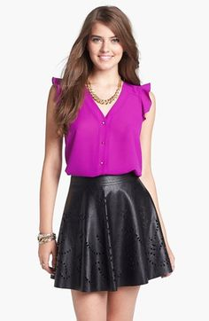 Laser cut faux leather skater skirt - all of this seasons hot styles meshed into one cute skirt!!  AND $54!!
