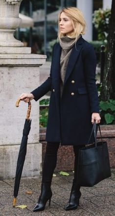Combine your classic winter trench coat with soft, luxurious accompaniments like a loose-fitting woolen turtleneck sweater to make your workday a little cozier