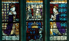 Edward IV, Elizabeth Woodville, and their sons in stained glass at Canterbury Cathederal.