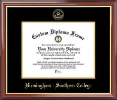 Birmingham-Southern College Diploma Frame - Embossed Seal - Mahogany Gold Trim