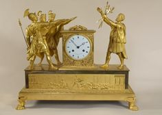 OnlineGalleries.com - Rare French Empire Ormolu Mantel Clock The Oath of the Horatii