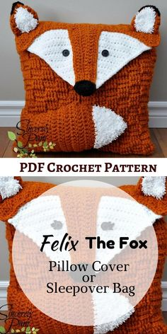 This Felix the Fox crochet pattern can be made into a pillow cover or sleepover bag (with optional strap instructions). Every kids are gonna love it! #crochetpattern #afflink