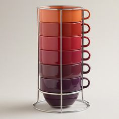 One of my favorite discoveries at WorldMarket.com: Jumbo Warm Ombre Stacking Mugs, Set of 6