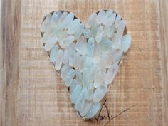 Driftwood with seaglass heart all seafoam ,rope for hanging4x6