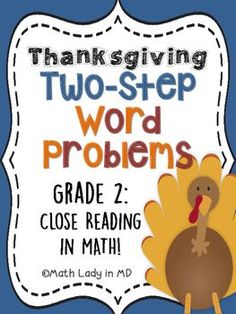 2nd grade Thanksgiving Two Step Word Problems... by Math Lady in MD | Teachers Pay Teachers