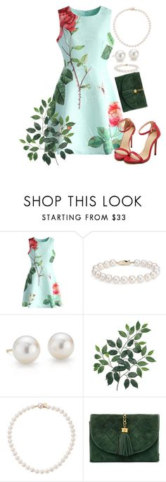 """""""Style My Mint Bue Dress with Roses"""" by glitter-dix ❤ liked on Polyvore featuring Chicwish, Blue Nile, Majorica, Chanel, life, fashionset and glitterdix2002"""
